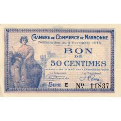Narbonne - Pirot 89-3 - 50 centimes - Série E - 04/11/1915 - Etat : SUP+