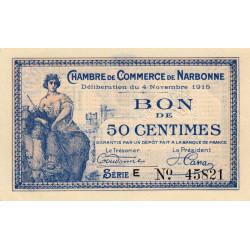 Narbonne - Pirot 89-3 - 50 centimes - Série E - 04/11/1915 - Etat : SUP