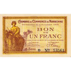 Narbonne - Pirot 89-6 - 1 franc - Série D - 04/11/1915 - Etat : SUP+