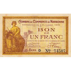 Narbonne - Pirot 89-6 - 1 franc - Série D - 04/11/1915 - Etat : SUP