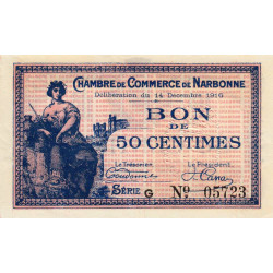 Narbonne - Pirot 89-9 - 50 centimes - Série G - 14/12/1916 - Etat : SPL