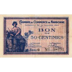 Narbonne - Pirot 89-9 - 50 centimes - Série G - 14/12/1916 - Etat : TTB