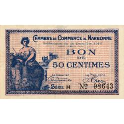 Narbonne - Pirot 89-9 - 50 centimes - Série H - 14/12/1916 - Etat : SUP