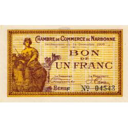 Narbonne - Pirot 89-11 - 1 franc - Série F - 14/12/1916 - Etat : SPL