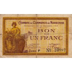 Narbonne - Pirot 89-11 - 1 franc - Série F - 14/12/1916 - Etat : B+