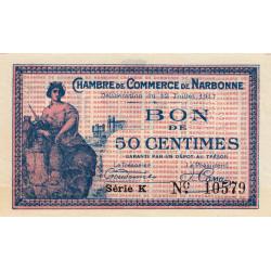 Narbonne - Pirot 89-12 - 50 centimes - Série K - 12/07/1917 - Etat : SPL