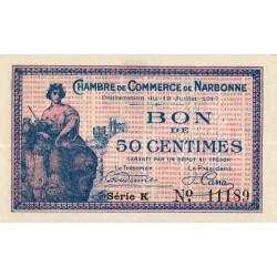 Narbonne - Pirot 89-12 - 50 centimes - Série K - 12/07/1917 - Etat : SUP+