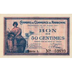 Narbonne - Pirot 89-12 - 50 centimes - Série L - 12/07/1917 - Etat : SUP+