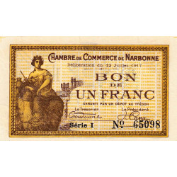 Narbonne - Pirot 89-15 - 1 franc - Série I - 12/07/1917 - Etat : SUP+