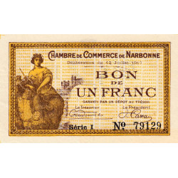 Narbonne - Pirot 89-15 - 1 franc - Série I - 12/07/1917 - Etat : SPL