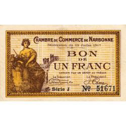 Narbonne - Pirot 89-15 - 1 franc - Série J - 12/07/1917 - Etat : TTB