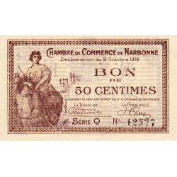 Narbonne - Pirot 89-17 - 50 centimes - Série Q - 02/10/1919 - Etat : SPL