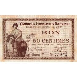 Narbonne - Pirot 89-17 - 50 centimes - Série T - 02/10/1919 - Etat : TB+