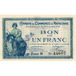 Narbonne - Pirot 89-18 - 1 franc - Série M - 02/10/1919 - Etat : SUP+