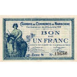 Narbonne - Pirot 89-18 - 1 franc - Série N - 02/10/1919 - Etat : TTB