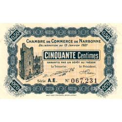 Narbonne - Pirot 89-19 - 50 centimes - Série A.E. - 13/01/1921 - Etat : SUP+