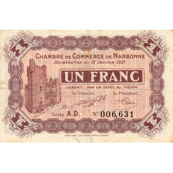 Narbonne - Pirot 89-21 - 1 franc - Série A.D. - 13/01/1921 - Etat : TB+