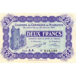 Narbonne - Pirot 89-25 - 2 francs - Série A.A. - 13/01/1921 - Etat : SUP