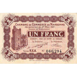 Narbonne - Pirot 89-28 - 1 franc - Série R.X.A. - 27/03/1921 - Etat : SUP