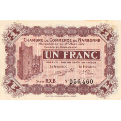 Narbonne - Pirot 89-28 - 1 franc - Série R.X.B. - 27/03/1921 - Etat : SUP