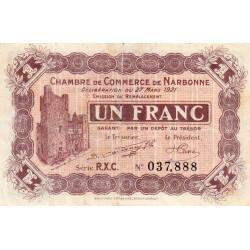 Narbonne - Pirot 89-28 - 1 franc - Série R.X.C. - 27/03/1921 - Etat : TB+
