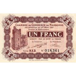Narbonne - Pirot 89-28 - 1 franc - Série R.X.D. - 27/03/1921 - Etat : SUP