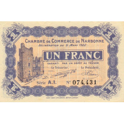 Narbonne - Pirot 89-30 - 1 franc - Série A.I. - 09/03/1922 - Etat : NEUF