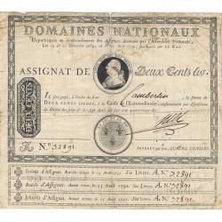Assignat 01a - 200 livres à endos avec les coupons d'intérêt - 1789 - Etat : TB