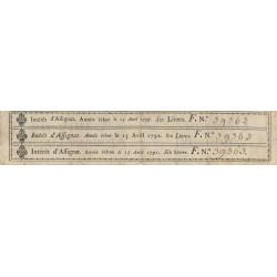Assignat 01c - Coupons d'intérêt détachés du 200 livres à endos - 1789 - Etat : TTB