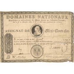 Assignat 02b - 300 livres à endos - 1789  - Etat : B