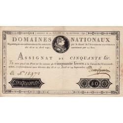 Assignat 04a - 50 livres - 29 septembre 1790 - Etat : SUP