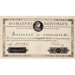 Assignat 04a - 50 livres - 29 septembre 1790 - Etat : SUP+