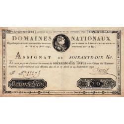 Assignat 06a - 70 livres - 29 septembre 1790 - Etat : TTB