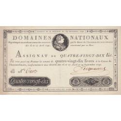 Assignat 08a - 90 livres - 29 septembre 1790 - Etat : SUP