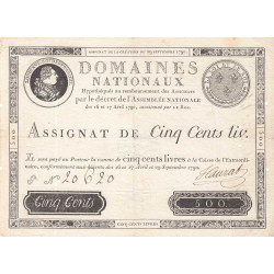 Assignat 10a - 500 livres - 29 septembre 1790 - Etat : TTB