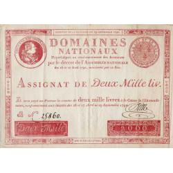 Assignat 11a - 2000 livres - 29 septembre 1790 - Etat : SUP