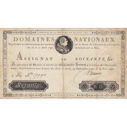 Assignat 14a - 60 livres - 19 juin 1791 - Etat : TB+