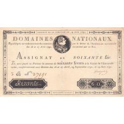 Assignat 14a - 60 livres - 19 juin 1791 - Etat : SUP-