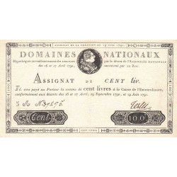 Assignat 15a - 100 livres - 19 juin 1791 - Etat : SUP+