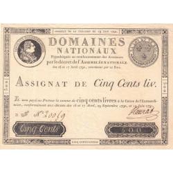 Assignat 16a - 500 livres - 19 juin 1791 - Etat : SUP