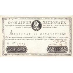 Assignat 17a - 200 livres - 19 juin et 12 septembre 1791 - Etat : SPL