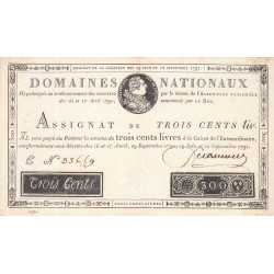 Assignat 18a - 300 livres - 19 juin et 12 septembre 1791 - Etat : SUP