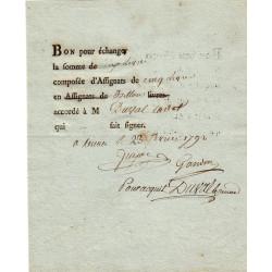 Bon pour échanger des assignats de 5 livres - 1792