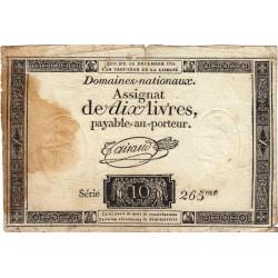 Assignat 21a-v1- 10 livres - Filigrane inversé - 10 décembre 1791 - Série 265 - Etat : TB-