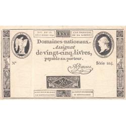 Assignat 22a - 25 livres - 16 décembre 1791 - Etat : TTB+