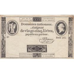 Assignat 22a - 25 livres - 16 décembre 1791 - Etat : TB+