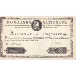 Assignat 32a - 50 livres - 31 août 1792 - Etat : SUP