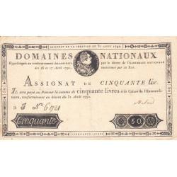Assignat 32a - 50 livres - 31 août 1792 - Etat : TTB