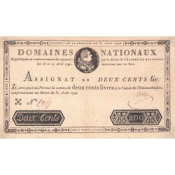 Assignat 33a - 200 livres - 31 août 1792 - Etat : SUP-