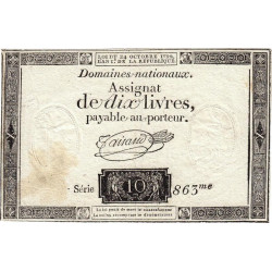 Assignat 36a-v1a- 10 livres - Filigrane inversé - 24 octobre 1792 - Etat : TTB